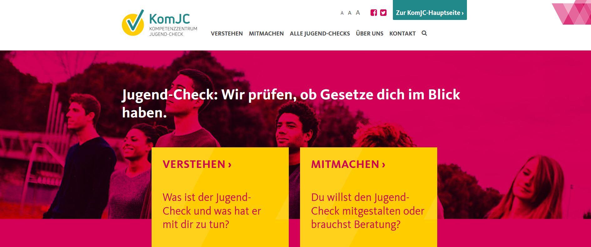 Screenshot der Startseite der jugendgerechten Webseite.